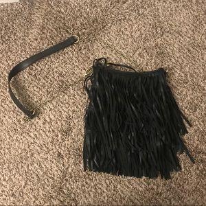 Steve Madden Black & Gold Fringe Crossbody Bag